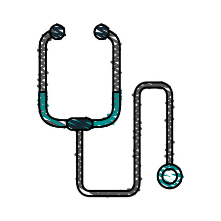 color crayon stripe cartoon stethoscope medical with auriculars vector illustration