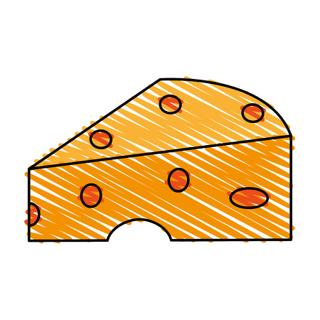 color crayon stripe cartoon piece of cheese vector illustration Иллюстрация