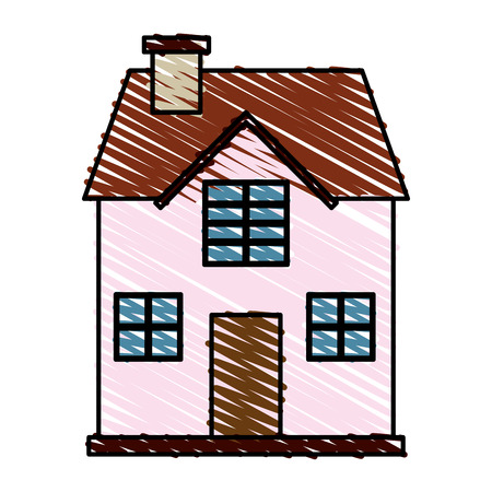 penthouse: color crayon stripe cartoon facade confortable house with two floors vector illustration Illustration