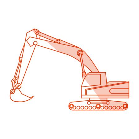 orange silhouette shading construction heavy machine excavator vector illustration Illustration
