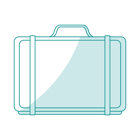handgrip: blue silhouette shading cartoon travel briefcase with handle vector illustration