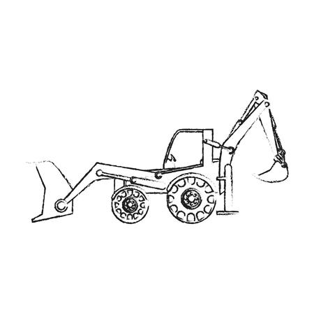 黒のぼやけたシルエット漫画産業機械ショベル ベクトル図
