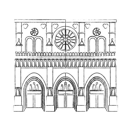 antiquities: black blurred silhouette cartoon building architecture antique temple vector illustration