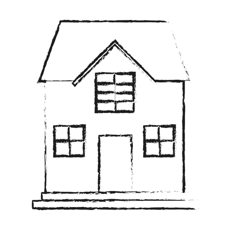 penthouse: black blurred silhouette cartoon facade confortable house with two floors vector illustration Illustration