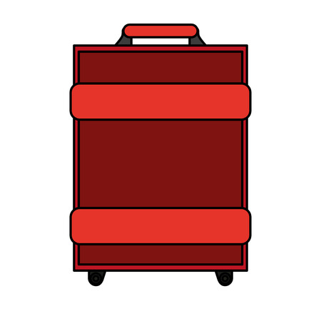 handgrip: color image travel baggage with handle vector illustration