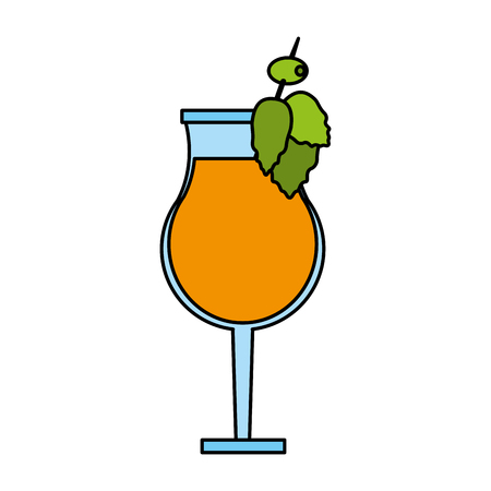color image cartoon glass cup of cocktail with olive decorative vector illustration Illustration