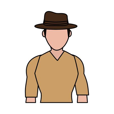 color image silhouette half body faceless explorer man with hat vector illustration Illustration