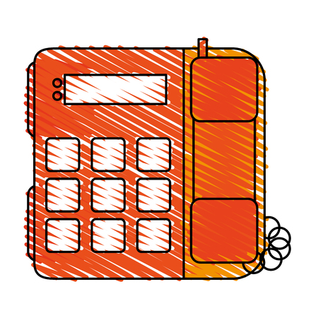 color crayon stripe silhouette office telephone with wired vector illustration