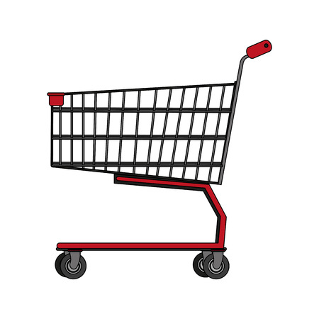 retailers: color image realistic shopping cart of supermarket vector illustration