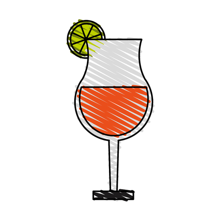 gin: color crayon stripe image cartoon glass cup of cocktail with lemon vector illustration