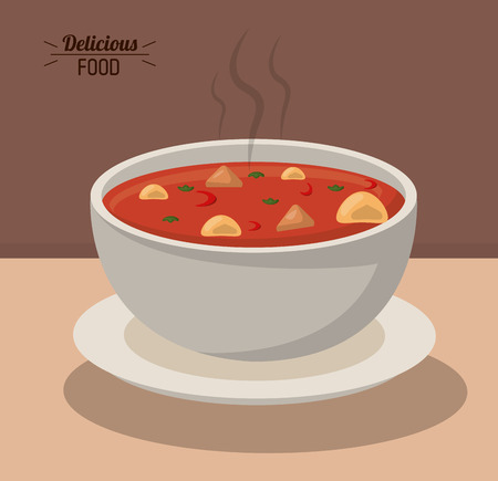 delicious food bowl soup hot nutrition vegetable vector illustration