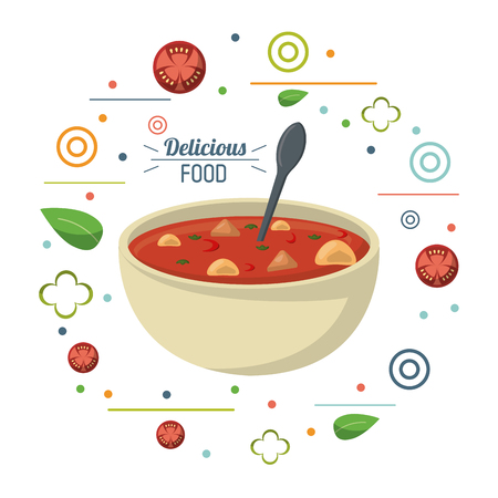 delicious food soup nutritional diet spoon poster vector illustration Illustration