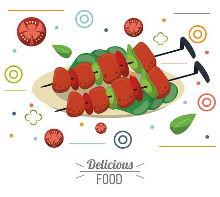 delicious food skewers grilled meat vegetables nutrition vector illustration Illustration