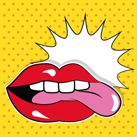 sexy tongue: sexy female lips and tongue bubble speech pop art vector illustration Illustration