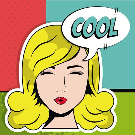 blonde girl close eyes cool bubble speech pop art vector illustration