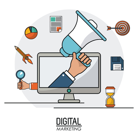 hand holding speaker digital marketing business infomation online vector illustration