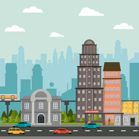 cityscape building gas station bank urban road cars Illustration