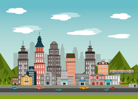 urban street bulindin market gas station police school landscape vector illustration
