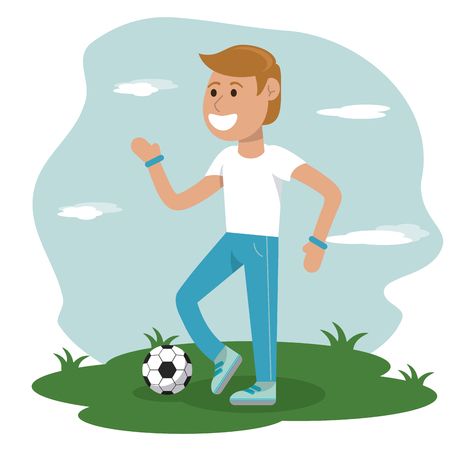 physical education - boy playing soccer sport school vector illustration
