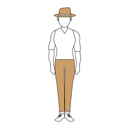 color silhouette image full body faceless explorer man with hat vector illustration Illustration