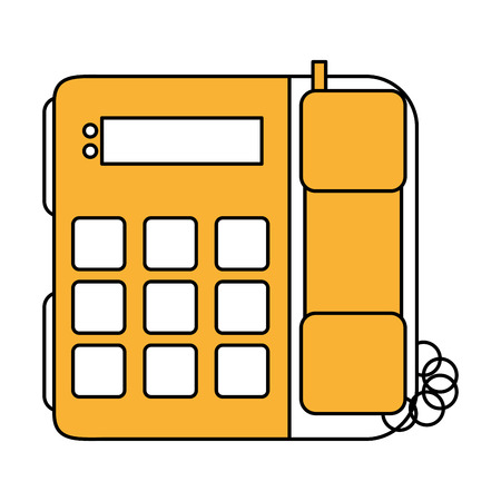 color silhouette image office telephone with wired vector illustration Illustration