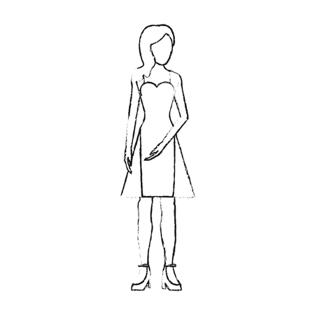 blurred silhouette image faceless woman with dress clothing vector illustration