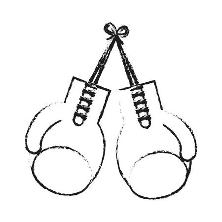 imagen de la silueta borrosa conjunto guantes de boxeo elemento del deporte ilustración vectorial