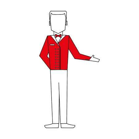 color silhouette image full body faceless bellboy with uniform vector illustration