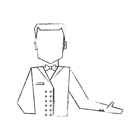 hotel staff: blurred silhouette half body faceless bellboy with uniform vector illustration