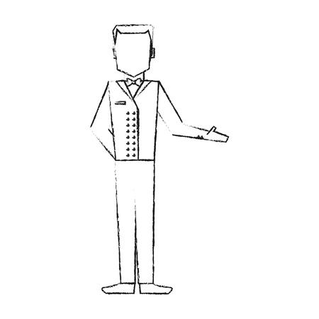 hotel staff: blurred silhouette full body faceless bellboy with uniform vector illustration Illustration
