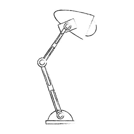 blurred silhouette desk lamp with light bulb vector illustration