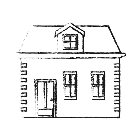 confortable: blurred silhouette facade house with two floors vector illustration