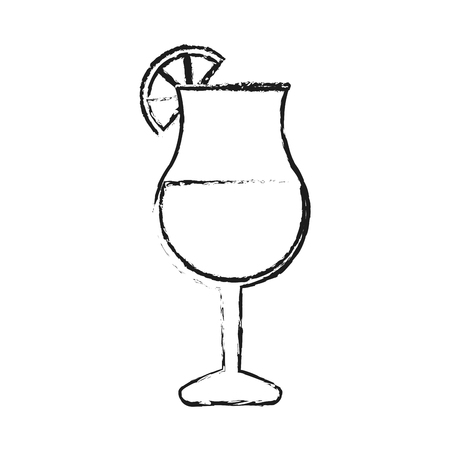 gin: blurred silhouette glass cup of cocktail with lemon decorative vector illustration