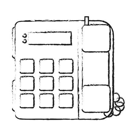 teléfono de oficina silueta borrosa con ilustración de vector con cable
