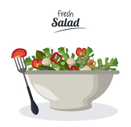 fresh salad bowl with vegetables menu meat fork vector illustration Illustration