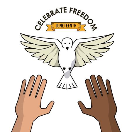 celebrate freedom hands black and white pigeon concept vector illustration Illustration