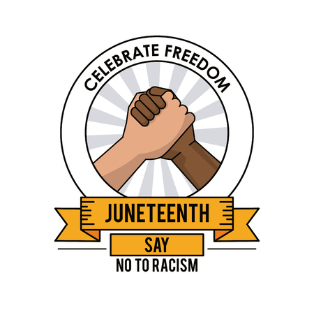 multi racial: juneteenth day celebrate freedom handshake no to racism vector illustration