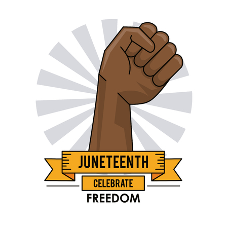 liberation: juneteenth day hand up liberty campaign poster vector illustration