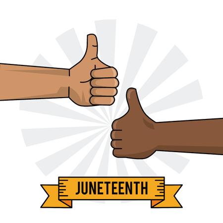 juneteenth viering hand zwart en wit duim omhoog vectorillustratie