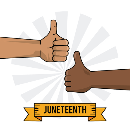 juneteenth celebration hand black and white thumb up vector illustration