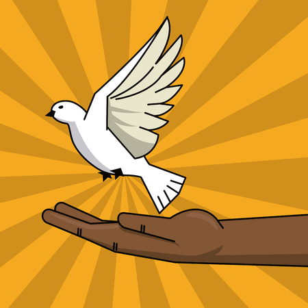 black hand and flying pigeon peace free concept vector illustration