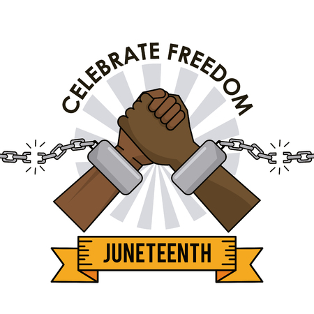 emancipation: juneteenth day celebrate freedom broken chain hands vector illustration