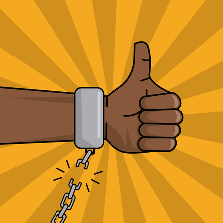 black hand thumbs up chain broken image vector illustration Illustration