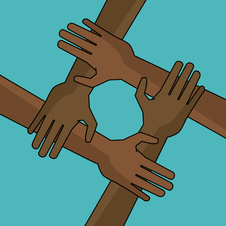 campaign freedom hand together anti racist vector illustration
