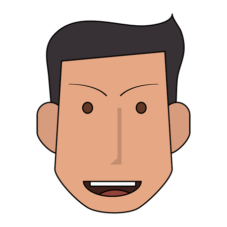 brow: colorful silhouette front face man with hairstyle and smile vector illustration