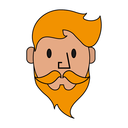 Colorful silhouette front face caricature blond man bearded vector illustration Illustration