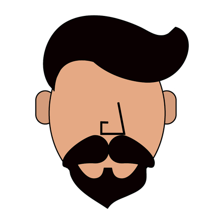 colorful silhouette front view faceless caricature man bearded vector illustration Illustration