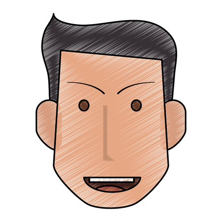 color pencil front face man with hairstyle and smile vector illustration Illustration