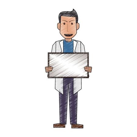 color pencil full body caricature doctor male with poster vector illustration Illustration