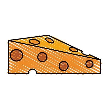 Pièce de rayure couleur crayon de l'illustration vectorielle de fromage Vecteurs